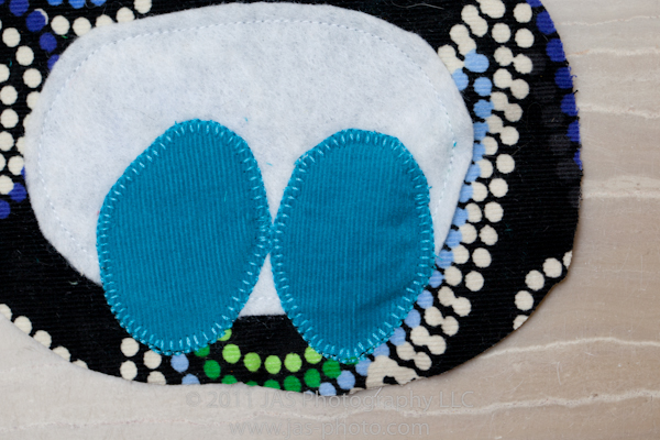 completed feet applique for stuffed penguin