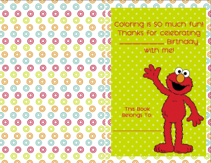 Personalizable elmo coloring book cover for an elmo party theme