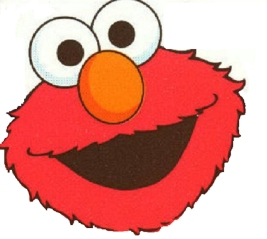 elmo face on white background