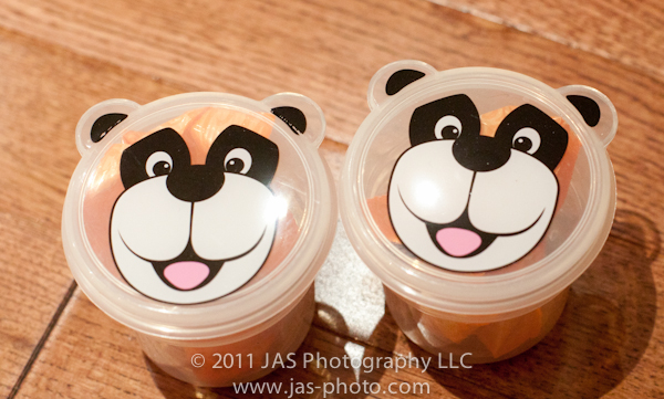 cute panda bear snack cups with fruit snacks inside for party favor bag