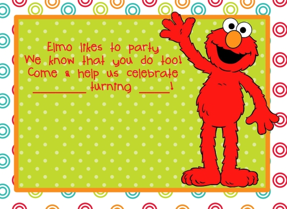 elmo party theme invitation free download