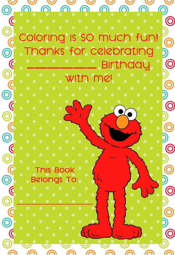 personalized elmo coloring book cover