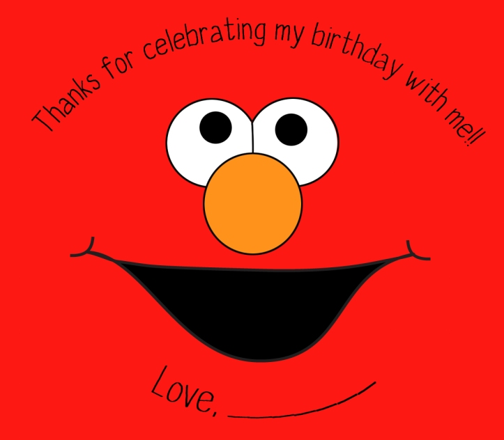 elmo face on red background sticker for party favor bags