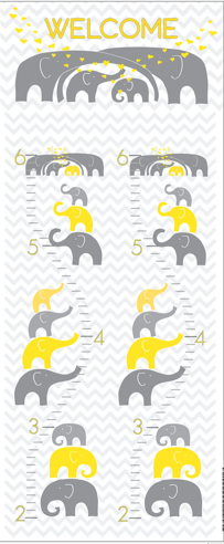 yellow and gray toddler growth chart with elephants