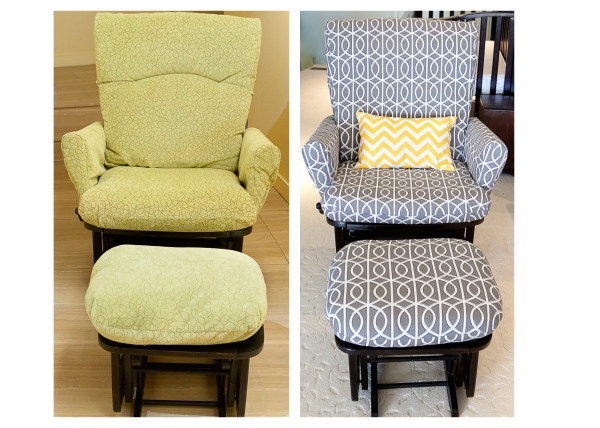 glider reupholstry project for gray and yellow nursery