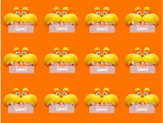 Free lorax printable download: Editable Cupcake Toppers 2