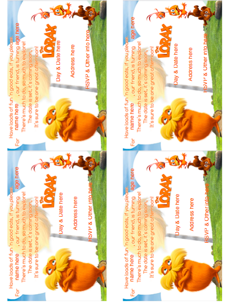 Free lorax printable download: Editable invitations