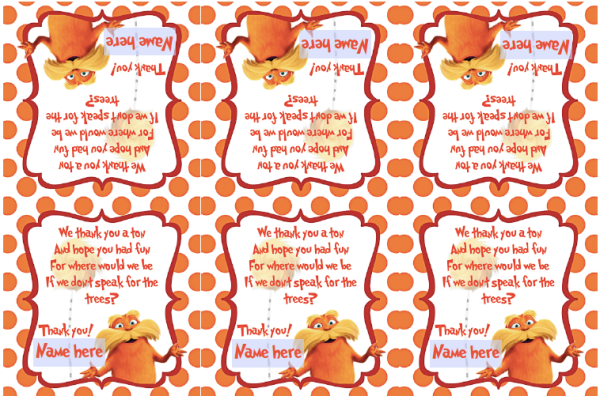 Free lorax printable for download: editable favor bag labels