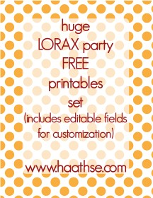 Free lorax party printables set