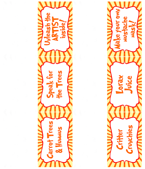 Free lorax printable: pre-made food and activity tent cards